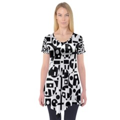 Black And White Abstract Chaos Short Sleeve Tunic