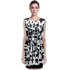 Black And White Abstract Chaos Classic Sleeveless Midi Dress