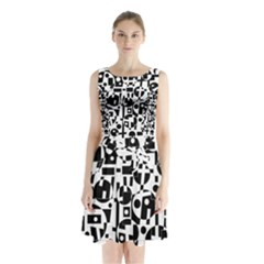 Black and white abstract chaos Sleeveless Chiffon Waist Tie Dress