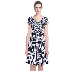 Black And White Abstract Chaos Short Sleeve Front Wrap Dress