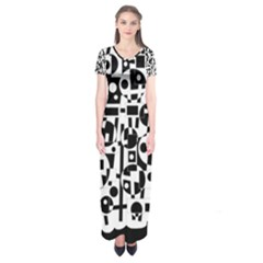 Black and white abstract chaos Short Sleeve Maxi Dress
