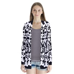 Black and white abstract chaos Drape Collar Cardigan