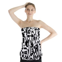 Black and white abstract chaos Strapless Top