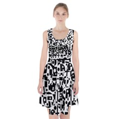 Black and white abstract chaos Racerback Midi Dress