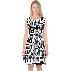 Black And White Abstract Chaos Capsleeve Midi Dress