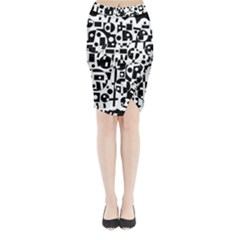 Black And White Abstract Chaos Midi Wrap Pencil Skirt