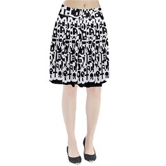 Black And White Abstract Chaos Pleated Skirt