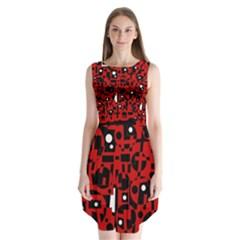Red Sleeveless Chiffon Dress