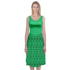 Boho look Green Damask Midi Sleeveless Dress