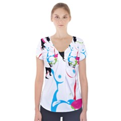 Sexy Shoes  Short Sleeve Front Detail Top