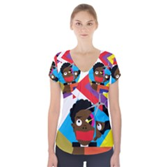 Scissors To My Mind Short Sleeve Front Detail Top