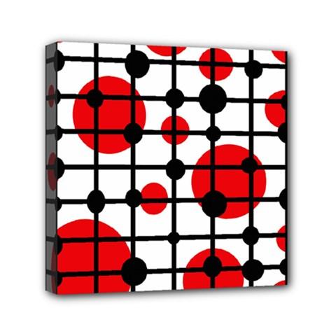 Red circles Mini Canvas 6  x 6