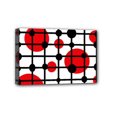 Red circles Mini Canvas 6  x 4