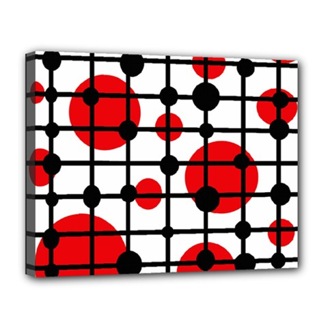 Red circles Canvas 14  x 11