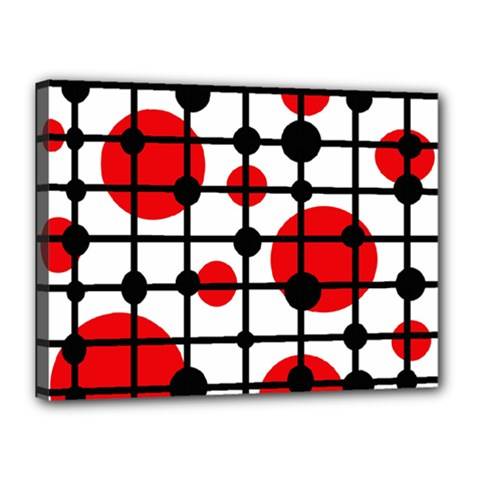 Red circles Canvas 16  x 12