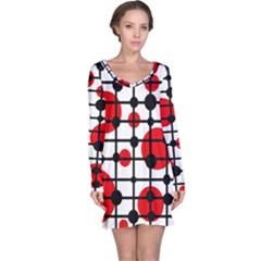 Red circles Long Sleeve Nightdress