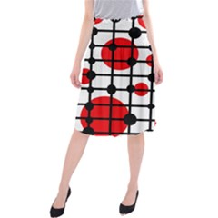 Red circles Midi Beach Skirt