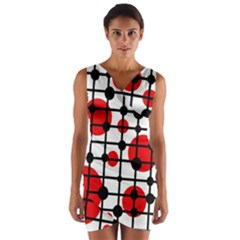 Red circles Wrap Front Bodycon Dress