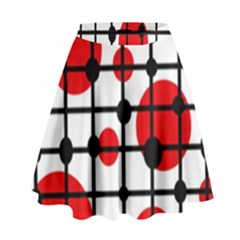 Red circles High Waist Skirt