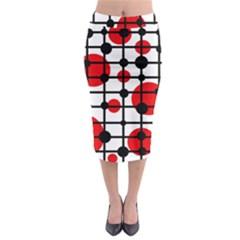 Red Circles Midi Pencil Skirt