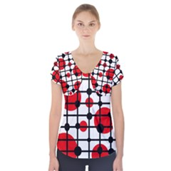 Red Circles Short Sleeve Front Detail Top