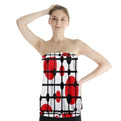 Red Circles Strapless Top