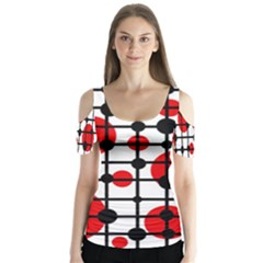 Red Circles Butterfly Sleeve Cutout Tee