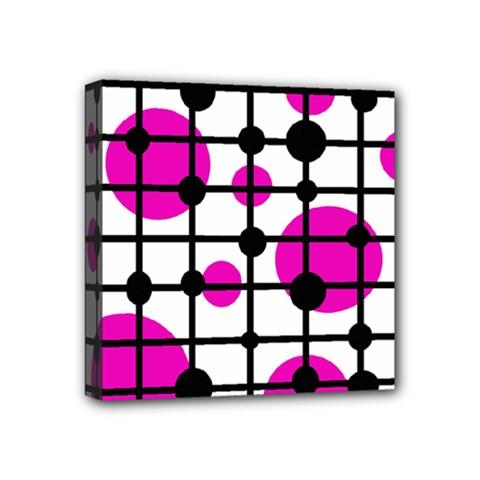 Magenta circles Mini Canvas 4  x 4