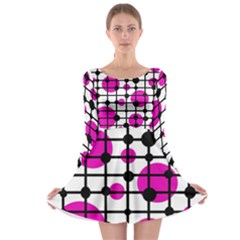 Magenta circles Long Sleeve Skater Dress
