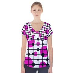 Magenta Circles Short Sleeve Front Detail Top