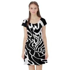 Black and white decor Short Sleeve Skater Dress