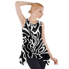 Black And White Decor Side Drop Tank Tunic