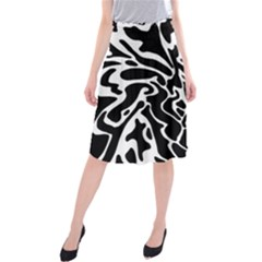Black And White Decor Midi Beach Skirt