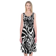 Black and white decor Midi Sleeveless Dress
