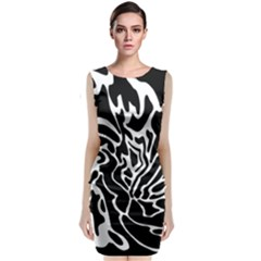 Black And White Decor Classic Sleeveless Midi Dress
