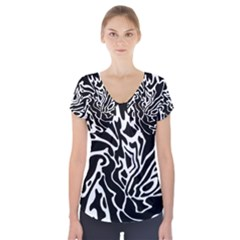 Black and white decor Short Sleeve Front Detail Top