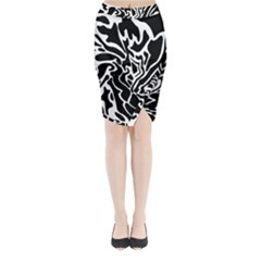 Black and white decor Midi Wrap Pencil Skirt