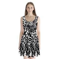 Black and white decor Split Back Mini Dress