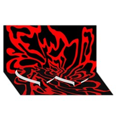 Red and black decor Twin Heart Bottom 3D Greeting Card (8x4)