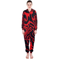 Red and black decor Hooded Jumpsuit (Ladies)