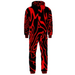 Red and black decor Hooded Jumpsuit (Men)
