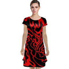 Red and black decor Cap Sleeve Nightdress