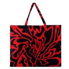 Red and black decor Zipper Large Tote Bag