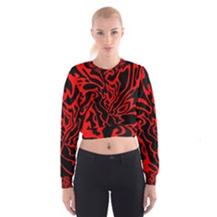 Red And Black Decor Women s Cropped Sweatshirt
