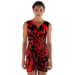 Red And Black Decor Wrap Front Bodycon Dress
