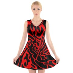Red and black decor V-Neck Sleeveless Skater Dress