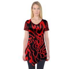 Red and black decor Short Sleeve Tunic
