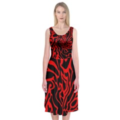 Red and black decor Midi Sleeveless Dress
