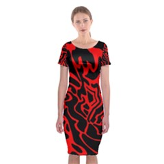 Red and black decor Classic Short Sleeve Midi Dress