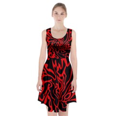 Red and black decor Racerback Midi Dress